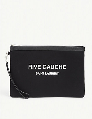 SAINT LAURENT: Rive Gauche canvas pouch