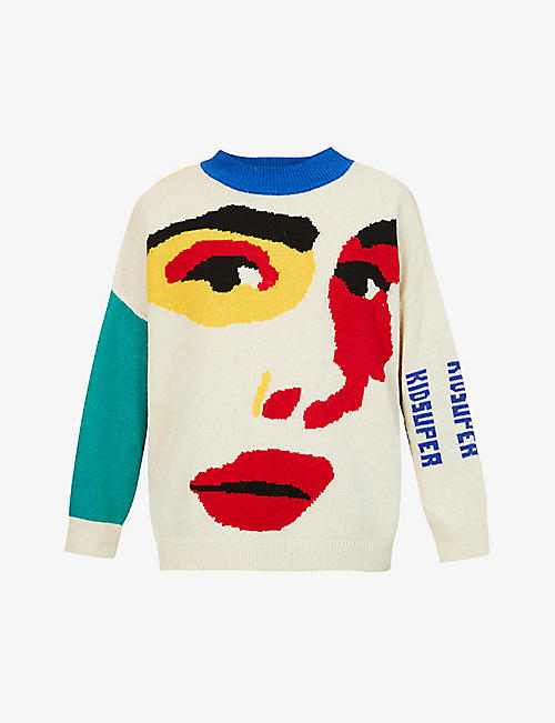 KID SUPER: Colour-blocked wool jumper
