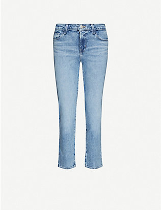 J BRAND: Adele straight-leg mid-rise stretch-denim jeans