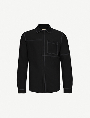 PREVU Grado Topstitch slim-fit crepe shirt