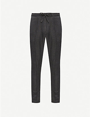 PREVU: Nave check-print slim-fit woven trousers