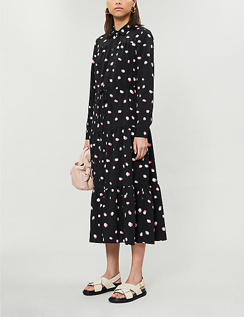 TOPSHOP Polka-dot print crepe midi dress