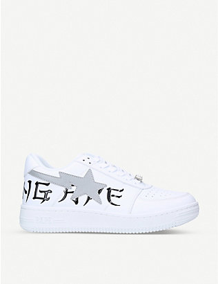 A BATHING APE: Logo-embroidered leather low-top trainers