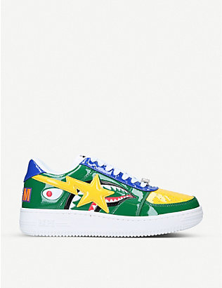 A BATHING APE: Logo-print leather low-top trainers