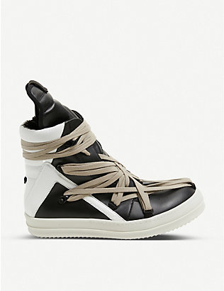 RICK OWENS: Lace-trimmed leather high-top trainers