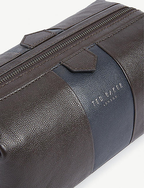 TED BAKER Colour-block leather wash bag