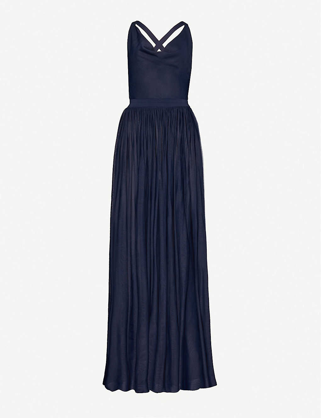 AZZEDINE ALAIA: Cowl-neck crepe gown