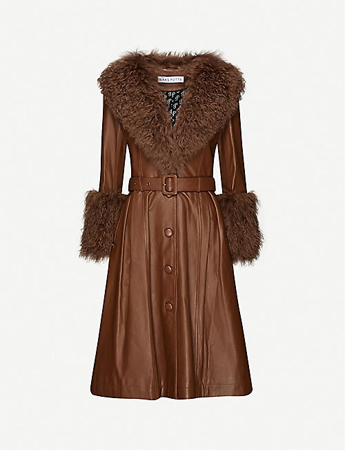 SAKS POTTS: Foxy shearling-trimmed leather coat