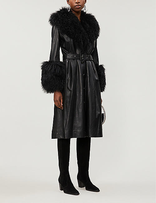 SAKS POTTS Foxy faux-fur-trimmed leather coat