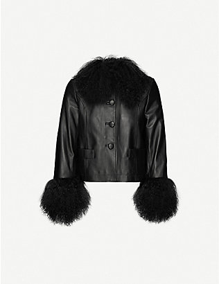 SAKS POTTS: Dorthe faux-fur-trimmed leather jacket