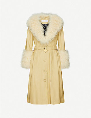 SAKS POTTS: Foxy faux-fur-trimmed leather coat