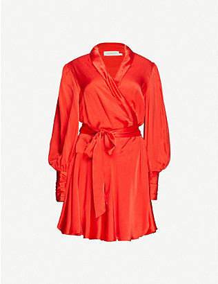 ZIMMERMANN: Wrap-over silk mini dress