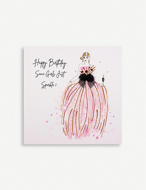 FIVE DOLLAR SHAKE: Happy Birthday Some Girls Just Sparkle greetings card 16.5cm x 16.5cm