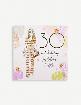 FIVE DOLLAR SHAKE: 30 & Fabulous Cocktails greetings card 16.5cm x 16.5cm