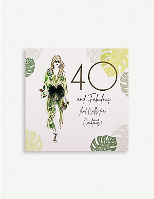 FIVE DOLLAR SHAKE: 40 & Fabulous Cocktails greetings card 16.5cm x 16.5cm