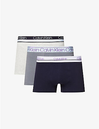 CALVIN KLEIN: Classic logo-print stretch-cotton trunks pack of three