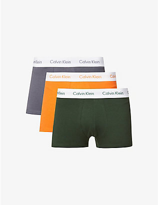 CALVIN KLEIN: Logo-print low-rise stretch-cotton trunks pack of three