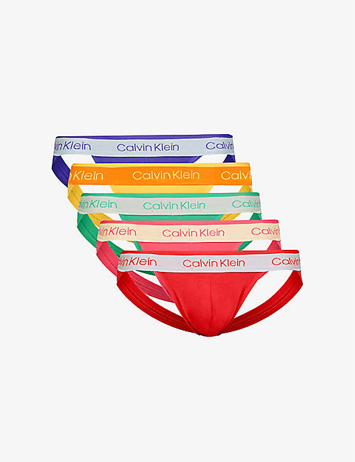 CALVIN KLEIN: Pack of five Pride stretch-cotton jock straps