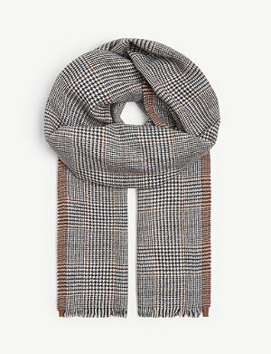 ELEVENTY Silk and wool check scarf