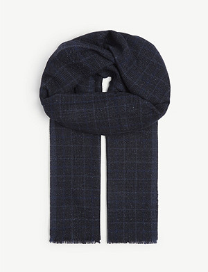 ELEVENTY Wool and silk check scarf