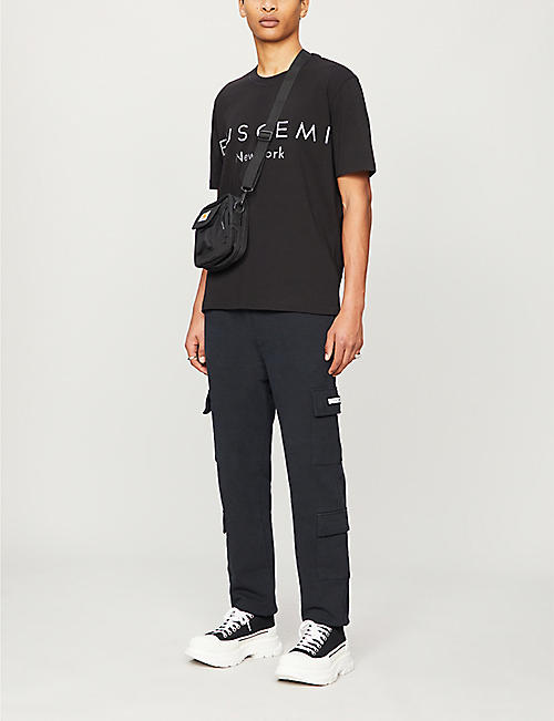 BUSCEMI Brand-patch tapered cotton-jersey jogging bottoms
