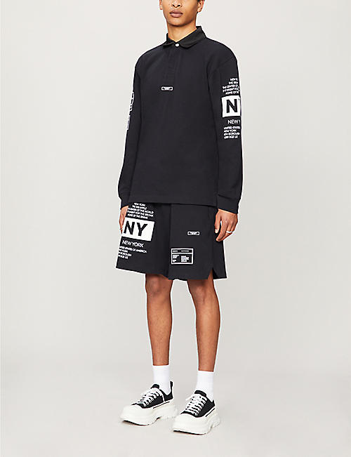 BUSCEMI Rugby brand-patch straight cotton-jersey shorts