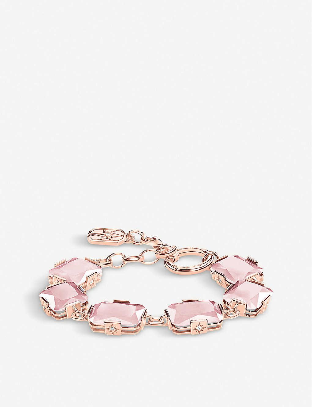 Baby Pink Rose Quartz and Sterling Silver Slider Bracelet