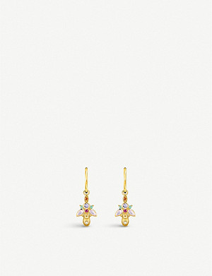 THOMAS SABO Magic Garden Beetle yellow gold-plated hoop and zirconia earrings