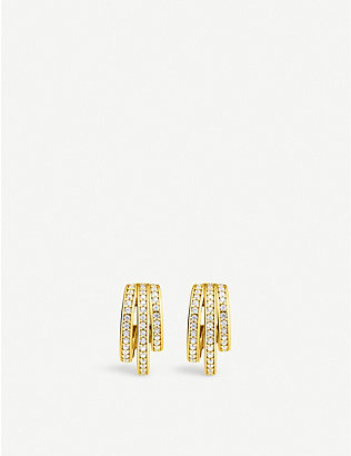 THOMAS SABO: Magic Garden retro hoop yellow gold-plated sterling silver and zirconia earrings