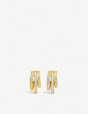THOMAS SABO Magic Garden retro hoop yellow gold-plated sterling silver and zirconia earrings