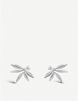 THOMAS SABO: Magic Garden sterling silver leaf stud earrings