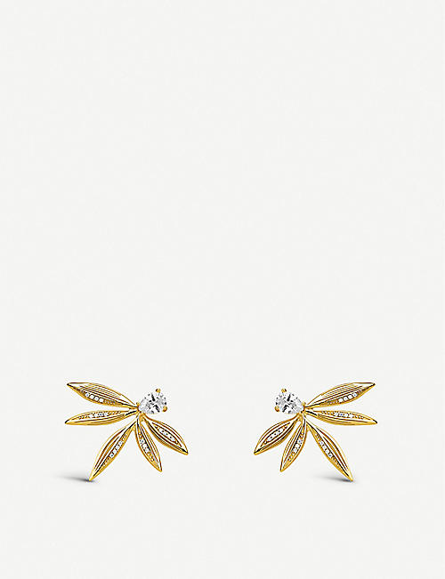 THOMAS SABO: Magic Garden yellow gold-plated sterling silver leaf stud earrings