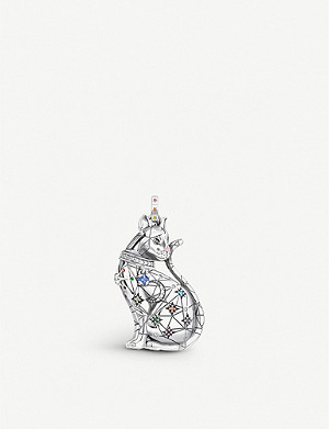 THOMAS SABO Cat Constellation sterling silver, glass-ceramic stone, white, yellow, black and orange zirconia pendant
