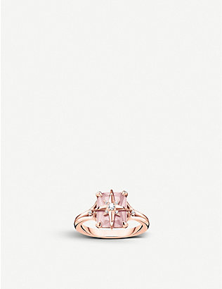 THOMAS SABO: Magic Stones Star 18ct rose gold-plated sterling silver and rose quartz ring