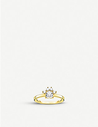 THOMAS SABO: Magic Cat gold-plated sterling silver and zirconia ring
