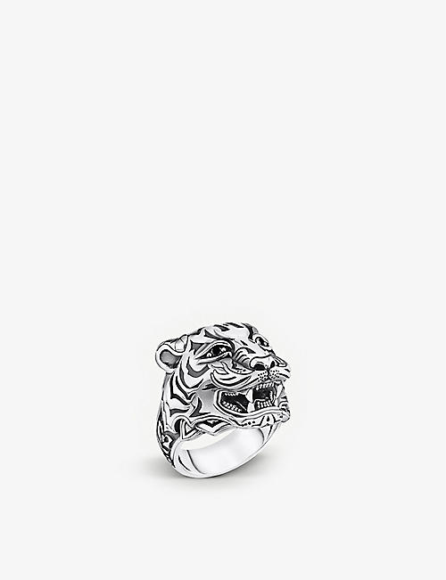 THOMAS SABO: Rebel at Heart tiger motif stainless steel and zirconia ring