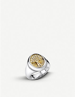 THOMAS SABO: Tree of Life 18ct yellow-gold plated silver signet ring