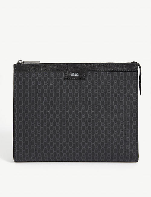 BOSS: Logo-printed leather folio case