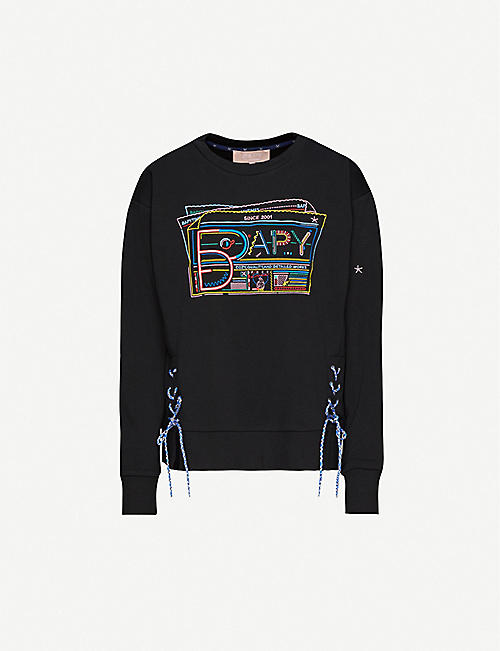 BAPY: Embroidered-logo cotton-blend jersey jumper