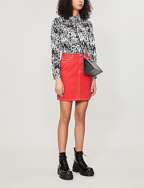 BAPY High-waist denim mini skirt