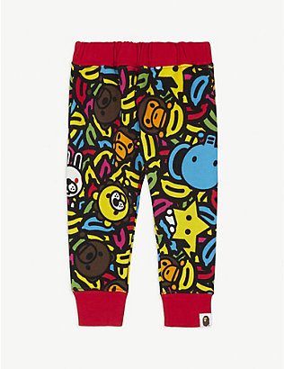 A BATHING APE: Banana pool cotton jogging bottoms 6-24 months
