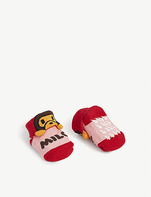 A BATHING APE Baby Milo cotton-blend socks