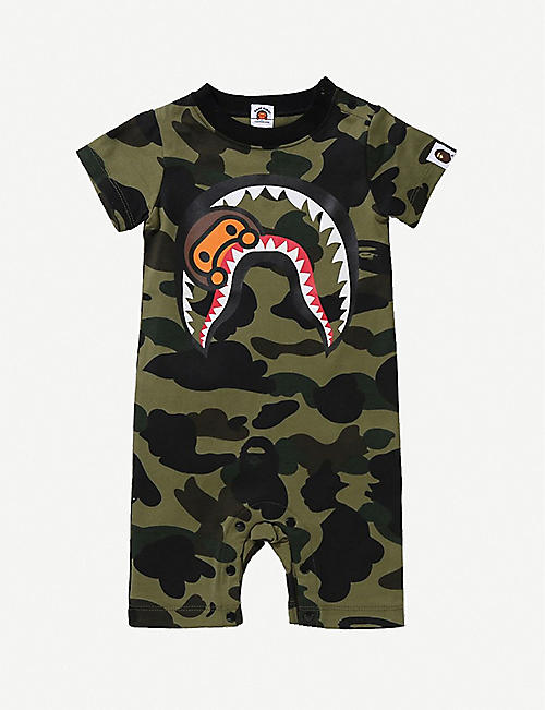 A BATHING APE Milo shark and camouflage-print cotton romper 6-18 months