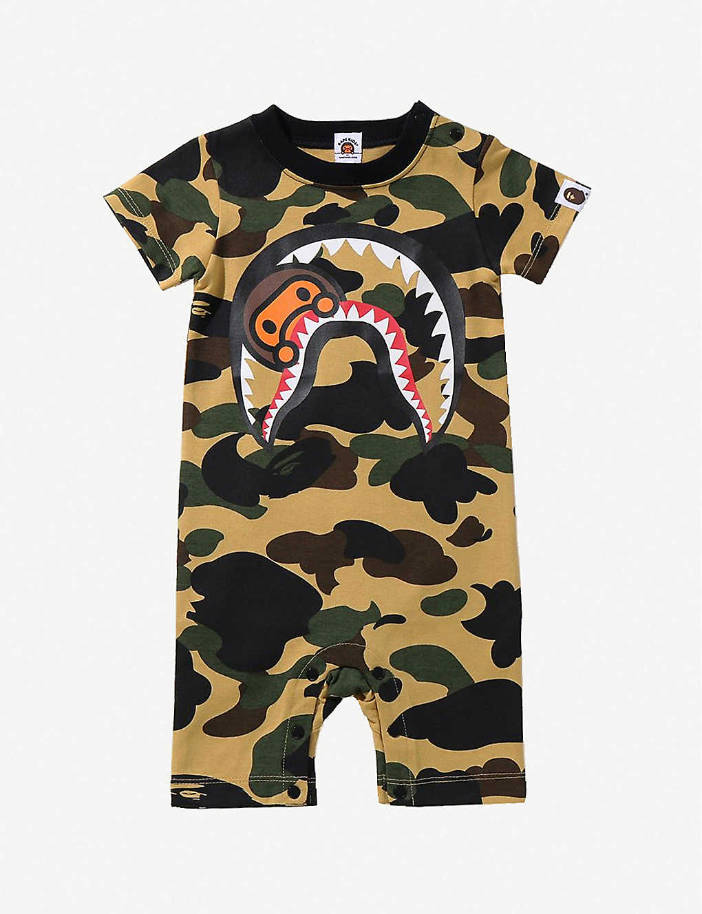 A BATHING APE: Milo shark and camouflage-print cotton romper 6-18 months