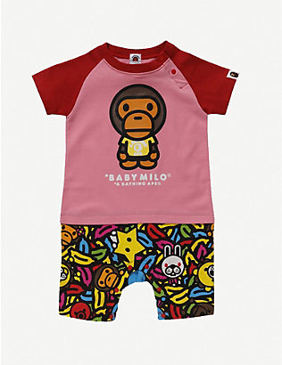 A BATHING APE: Baby Milo Banana Pool branded graphic-print cotton rompers 6-18 months