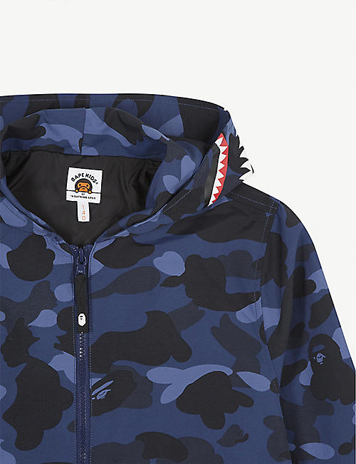 A BATHING APE Camouflage print hooded nylon jacket 5-8 years