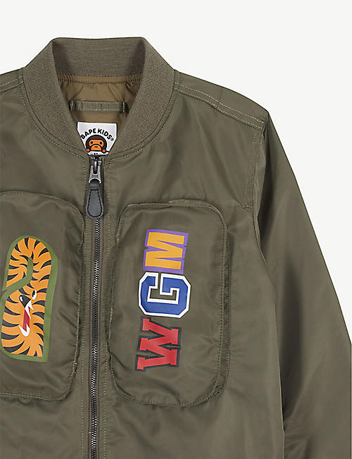 A BATHING APE Logo-printed shell bomber jacket 5-8 years