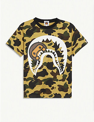 A BATHING APE: Logo-printed camouflage cotton T-shirt 4-8 years