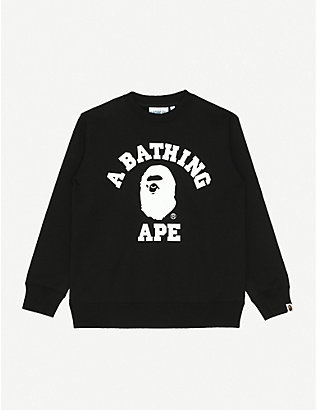 A BATHING APE: College branded cotton sweatshirt 9-10 years