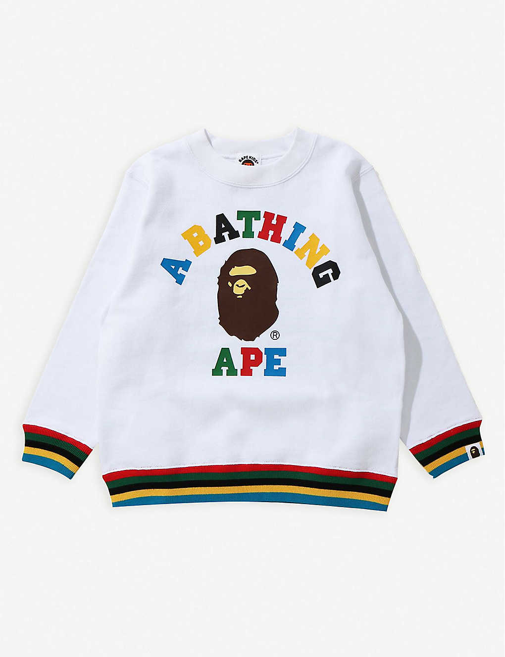A BATHING APE:College 条纹饰边品牌标识棉质卫衣 5-10 岁